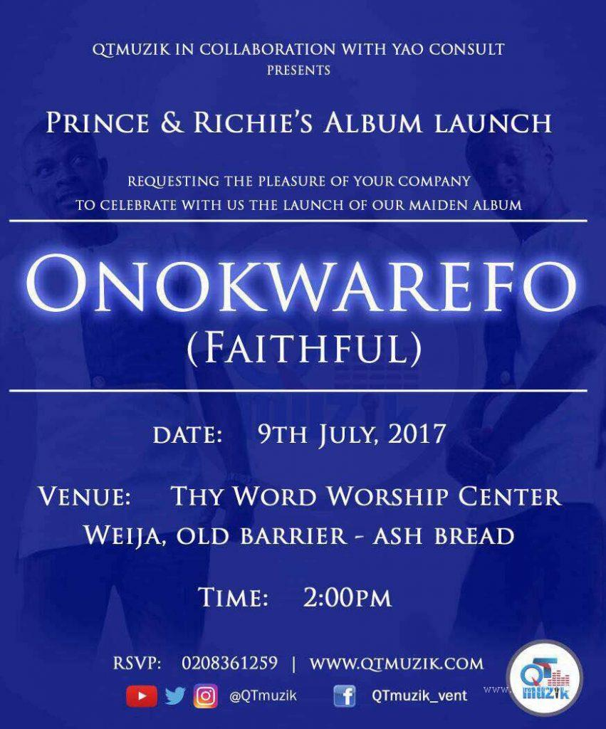 "invitation 851x1024 - Prince & Richie ""Onokwarefo"" album to be launched this Sunday, July 9th"