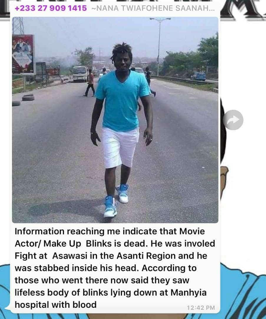 Kumawood actor Abass Nurudeen 'Blinkz' reportedly stabbed to death At Sawaba
