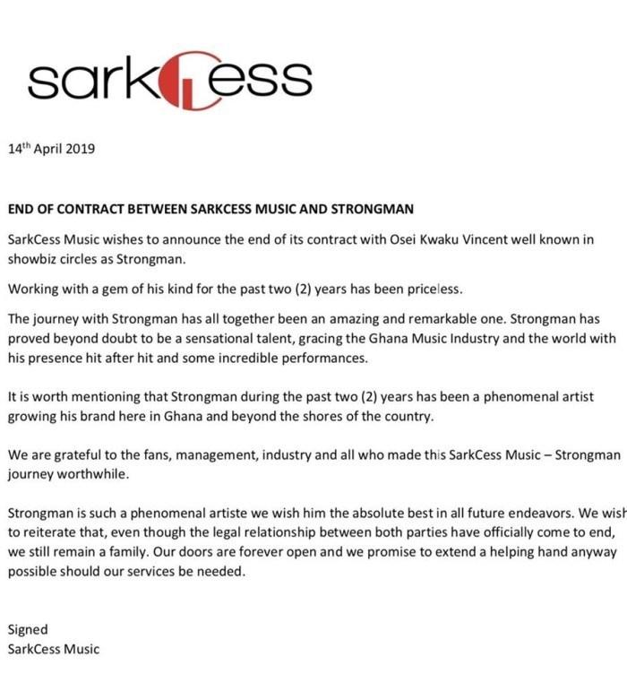 Sarkodie's SarkCess Music and Strongman part ways